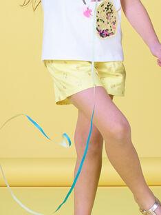 Yellow sequined fruit print shorts LAJAUSHORT / 21S901O1SHO116