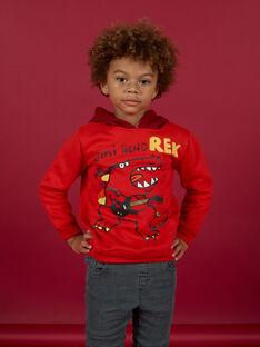 Child Boy Red Dinosaur Hoodie MOFUNSWE / 21W902M1SWEF505