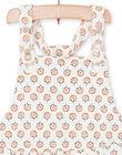 Overalls ecru and pink baby girl flower print LIPOESAL / 21SG09Y1SAL001
