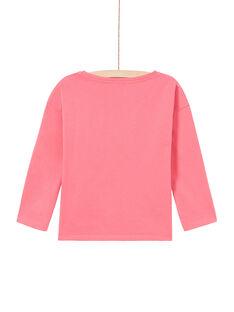 Girl's pink leopard print long sleeve T-shirt MAKATEE2 / 21W901I1TMLD305