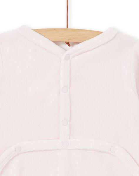Pink velvet baby girl sleep suit LEFIGRECHA / 21SH1351GRED308