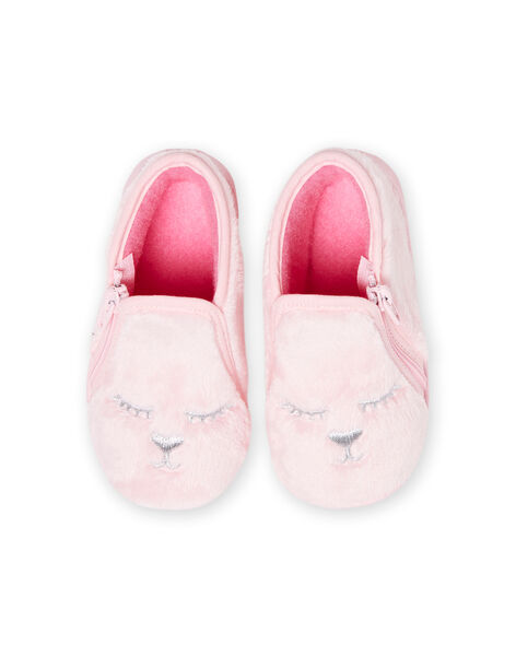 Light pink slippers in fake fur with cat pattern for baby girl MIPANTFUR / 21XK3722D0A321