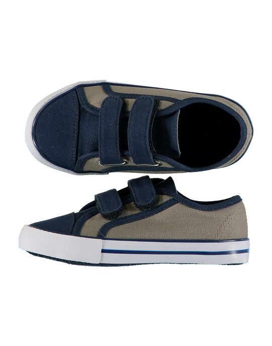 Boys' two-tone canvas trainers FGVELKAK / 19SK36C3D16604