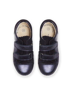 Child girl navy blue low top sneakers with iridescent effect MABASVEL / 21XK3554D3F070