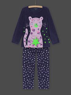 Girl's velvet leopard print pyjama set MEFAPYJSTA / 21WH1192PYJC202