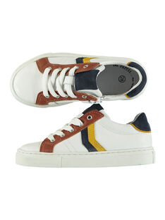 Boys' smart leather trainers FGBASLACE / 19SK3642D3F000