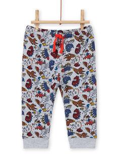 Baby boy's grey mottled dinosaur print pants MUPAPAN1 / 21WG10H2PAN943