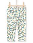 Baby girl's green and ecru floral print legging MYIKALEG / 21WI09I1CAL001