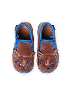Taupe slippers with lion design for baby boy MUPANTLION / 21XK3833D0A803