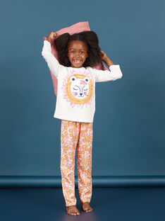 Girl's white and orange T-shirt and pants pajama set MEFAPYJLEO / 21WH1133PYJ001