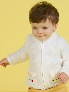 Baby boy's ecru vest with sheep print MUMIXGIL / 21WG10J1GIL001