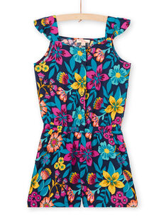 Floral print ruffled bib and brace overalls LAMUMCOMB2 / 21S901Z1CBLC211