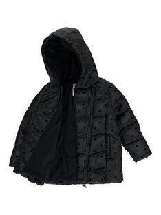 Girls' black hooded padded jacket DALONDOU2 / 18W901E2D3E090