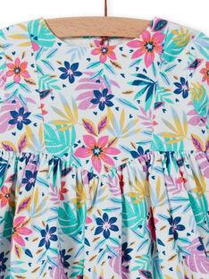 Baby girl multicolored corduroy dress with floral print MIPLAROB4 / 21WG09O4ROB001