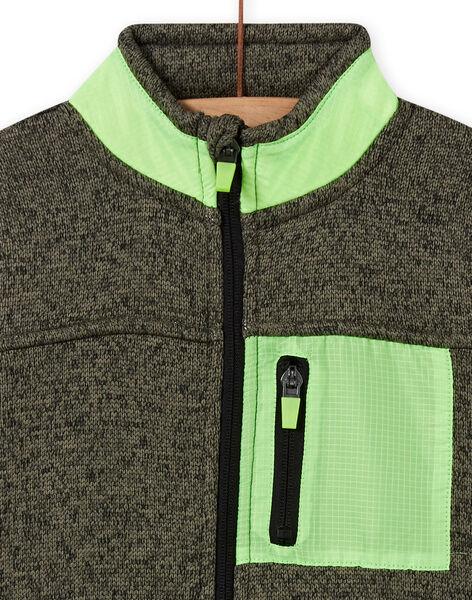 Boy's khaki mottled vest with neon green inserts MOJOGITEK4 / 21W90211GILG631