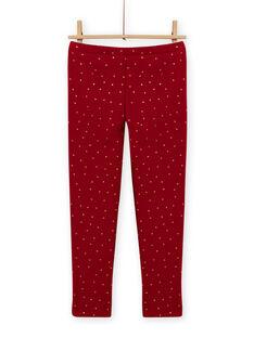 Girl's carmine red legging with polka dots MAJOLEG2 / 21W901N5PANF504