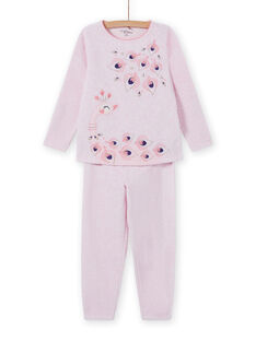 Pink pyjama set with peacock motif, baby girl MEFAPYJPEA / 21WH1132PYJD314