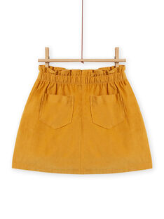 Girl's yellow corduroy paperbag skirt MASAUJUP1 / 21W901P2JUPB107