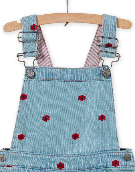 Baby girl's embroidered denim overalls dress LAHAROB1 / 21S901X2ROBP272