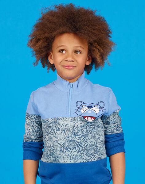 Lavender blue colorblock sweatshirt for kids and boys LOBLESWE / 21S902J1SWEC208