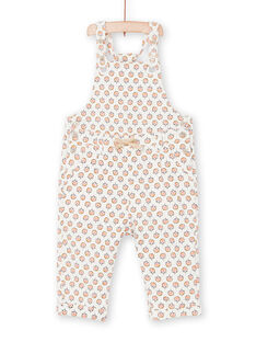 Overalls ecru and pink baby girl flower print LIPOESAL / 21SG09Y1SAL001