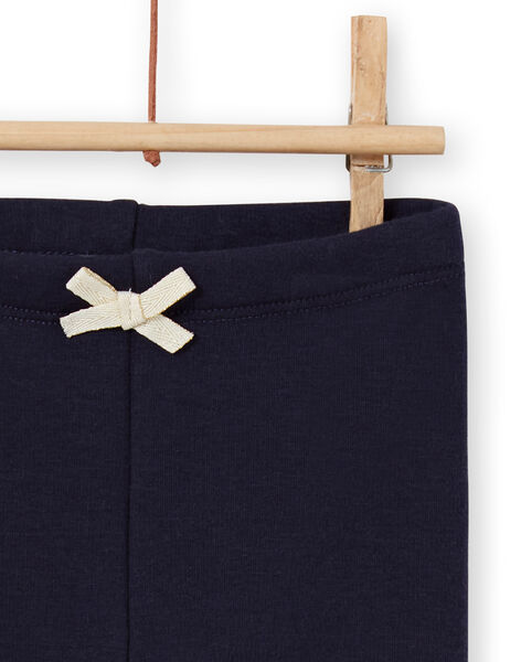 Baby girl's navy blue lined legging with embroidered bunnies MIJOPANDOU2 / 21WG0913PAN070