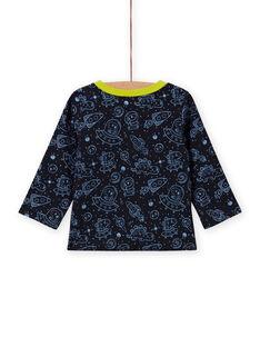 Boy's reversible black space print T-shirt MUPLATEE2 / 21WG10O1TMLC243