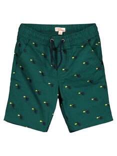 Boys' printed green shorts GOVEBER1 / 19W90221BERG614