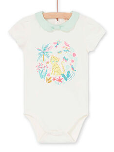 Body ecru and green water baby girl LIVERBOD / 21SG09Q1BOD001