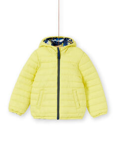 Reversible hooded jacket yellow and blue boy boy child LOGROBLOU2 / 21S902R4BLO070