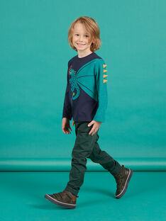 Boy's dark green twill pants MOTUPAN2 / 21W902K2PANG618