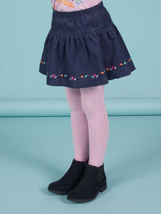 Girl's reversible skirt, midnight blue with floral print MAPLAJUP1 / 21W901O1JUPC202