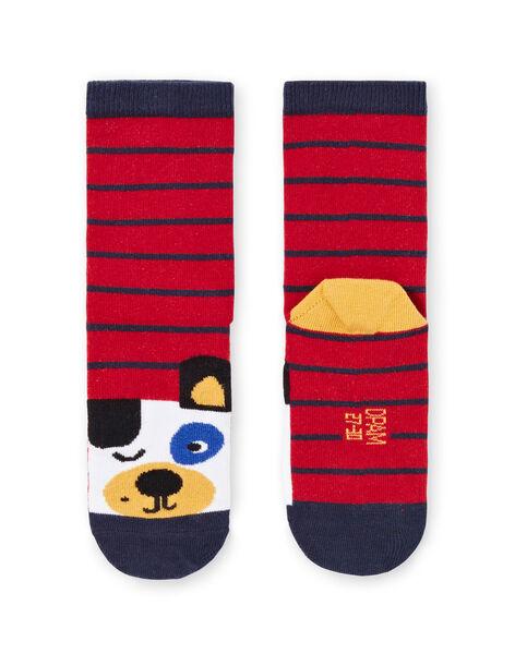 Baby boy's striped socks with dog print MYOMIXCHO / 21WI02J1SOQ505