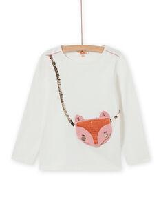 Girl's reversible fox and sequin t-shirt in ecru MASAUTEE1 / 21W901P2TML001