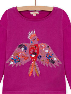 Long sleeved purple T-shirt with parrot design child girl MAPATI1 / 21W901H3TML712