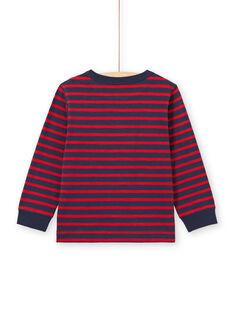 Boy's red and navy stripes long sleeve T-shirt MOJOTIRIB2 / 21W90224TML505