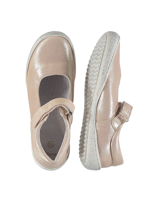 Girls' smart iridescent leather Mary-Janes FFBABMATER / 19SK35C2D13030
