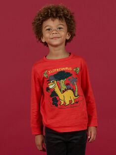 Boy's red long sleeve t-shirt with dinosaur print MOFUNTEE2 / 21W902M3TMLF505