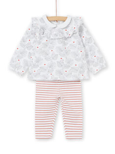 Set of blouse with flounce and leggings birth girl LOU1ENS2 / 21SF03H1ENS000