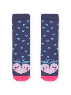 Girl blue curly socks with owl print MYAPLACHO / 21WI01O1SOQC202