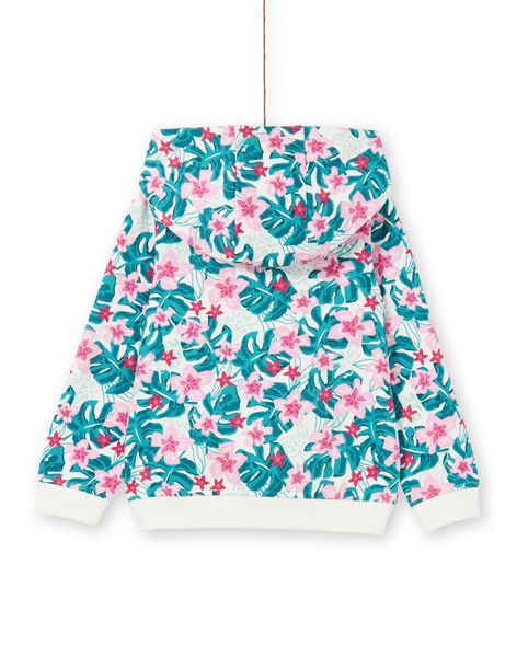 Hooded jogging top with Hawaiian flower print LAJOHOJOG2 / 21S90142D33001