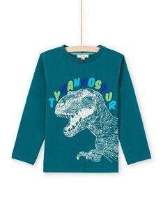 Blue long sleeve t-shirt with tyrannosaurus design for boys MOTUTEE6 / 21W902K6TML714