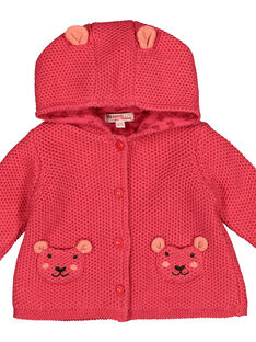 Baby girls' knit hooded jacket FIBAVEST1 / 19SG09X1VES308