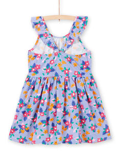 Girl's striped and floral print dress with ruffled straps LAPLAROB1 / 21S901T2ROB000