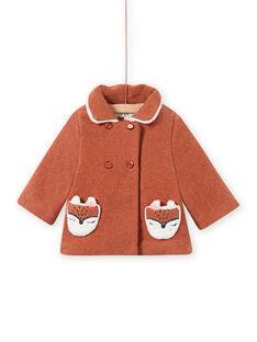 Baby girl brown wool coat with fox pattern MICHECKMAN / 21WG0961MAN817