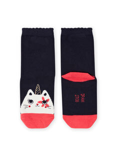 Girl's midnight blue socks with cat-licorn design MYAMIXCHO / 21WI01J1SOQC205