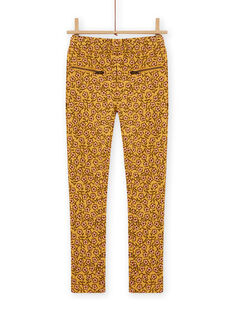 Child girl's yellow furry pants with floral print MASAUPANT1 / 21W901P2PANB107