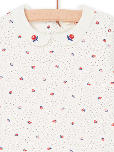 Body ecru and red with polka dots and flowers baby girl LIHABOD2 / 21SG09X1BOD001