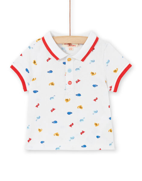 White dinosaur print baby boy polo shirt LUCANPOL / 21SG10M1POL000