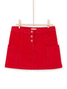 Girl's red ribbed skirt MACOMJUP1 / 21W901L2JUP408